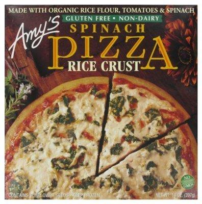 Organic Pizza, Amy's® Organic Gluten Free Rice Crust Spinach Cheese Pizza (14 oz Box)