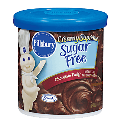 Cake Frosting Mix, Pillsbury® Creamy Supreme™ Sugar Free Chocolate Fudge Frosting (15 oz Tub)
