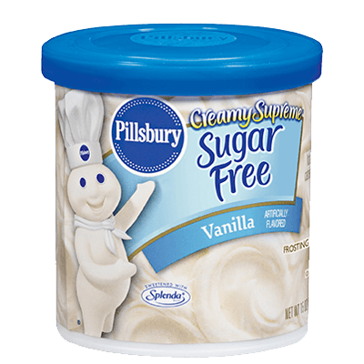 Cake Frosting Mix, Pillsbury® Creamy Supreme™ Sugar Free Vanilla Fudge Frosting (15 oz Tub)