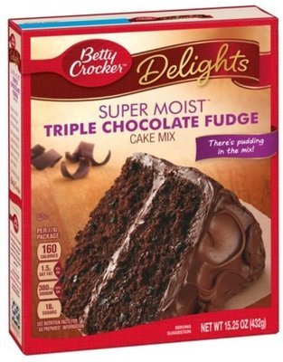 Cake Mix, Betty Crocker® Delights Super Moist™ Triple Chocolate Fudge Cake Mix (15.25 oz Box)