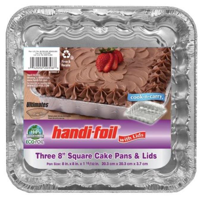 "Cake Pan, Handi-foil® Eco-Foil® Cake Pan w/Lid (3 Count, 8"" x 8"" Cake Pans)"