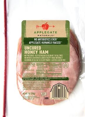Deli Meat, Applegate Farms® Uncured Honey Ham (7 oz Resealable Bag)