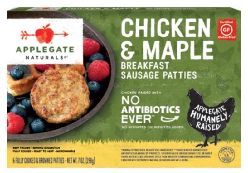Frozen Chicken Patties, Applegate Farms® Chicken Maple Sausage Patties (7 oz Box)