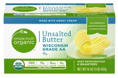 Organic Unsalted Butter, Simple Truth Organic™ Unsalted Stick Butter (16 oz Box)
