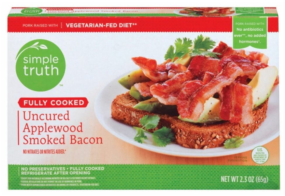 Fully Cooked Bacon, Simple Truth™ Fully Cooked Uncured Applewood Smoked Bacon (2.3 oz Box)