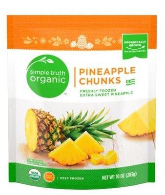 Frozen Fruit, Simple Truth Organic™ Pineapple Chunks (10 oz Bag)