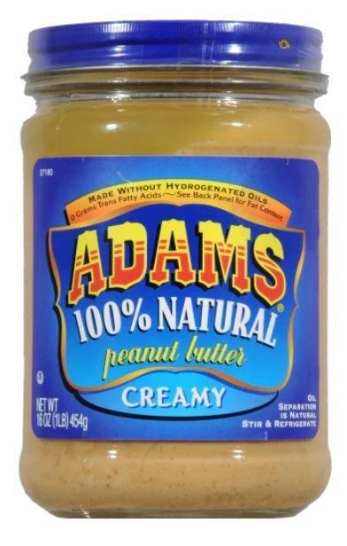 Peanut Butter, Adams® 100% Natural Creamy Peanut Butter (16 oz Jar)