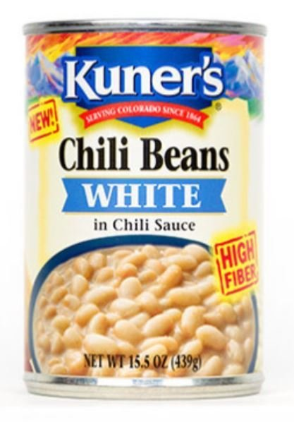"Canned Chili Beans, Kuner's® ""White Chili Beans"" Great Northern Beans (15.5 oz Can)"