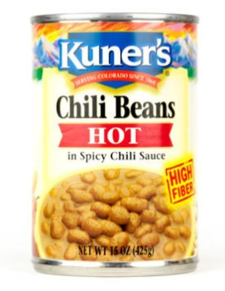 "Canned Pinto Beans, Kuner's® ""Hot Chili Beans"" Pinto Beans (15 oz Can)"
