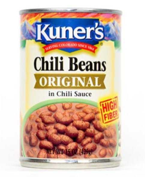 "Canned Pinto Beans, Kuner's® ""Original Chili Beans"" Pinto Beans (15.5 oz Can)"