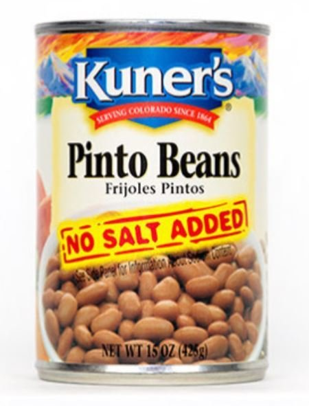 """Canned Pinto Beans, Kuner's® """"No Salt"""" Pinto Beans (15 oz Can)"""