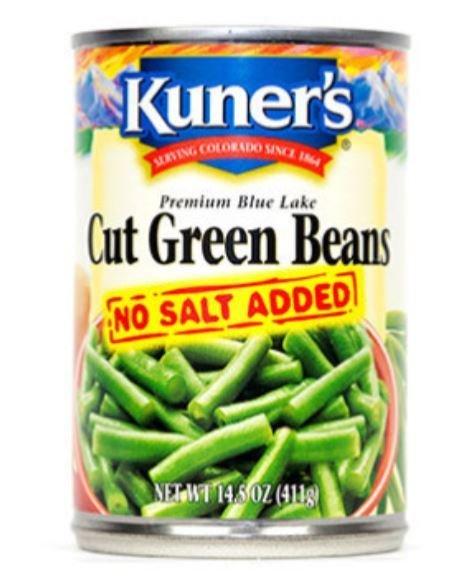 "Canned Green Beans, Kuner's® ""No Salt Added"" Cut Green Beans (14.5 oz Can)"