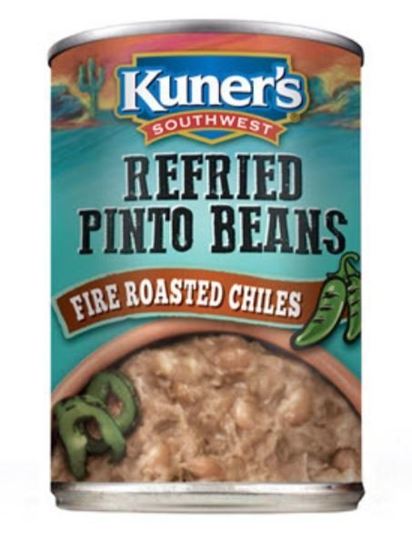 """Canned Refried Beans, Kuner's® """"Fire Roasted Chiles"""" Refried Pinto Beans (15 oz Can)"""