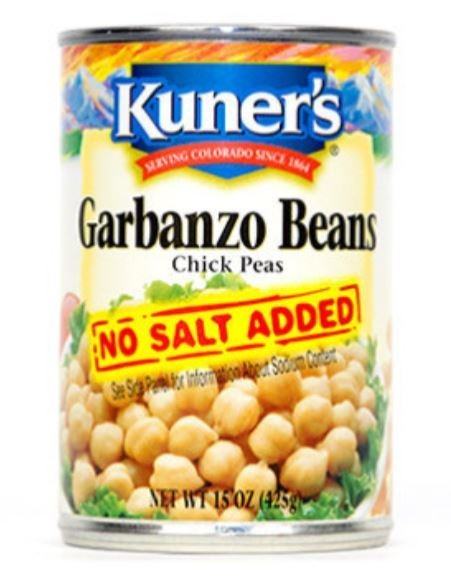 "Canned Garbanzo Beans, Kuner's® ""No Salt"" Garbanzo Beans (15 oz Can)"