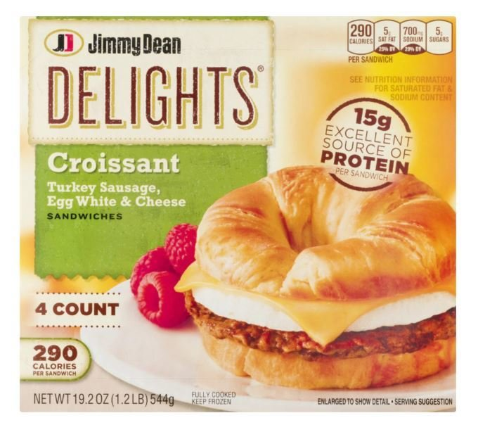 Frozen Breakfast Croissant, Jimmy Dean Delights® Croissant with Turkey Sausage Egg White & Cheese (4 Count, 19.2 oz Box)