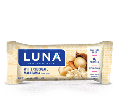 Energy Bars, Luna® White Chocolate Macadamia Bar (1.69  oz Bag)