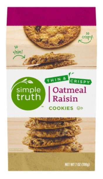 Sandwich Cookies, Simple Truth™ Thin & Crispy Oatmeal Raisin Cookies (7 oz Box)