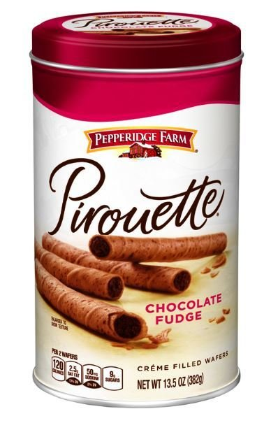 Wafer Cookies, Pepperidge Farm® Pirouette™ Chocolate Fudge Creme Filled Wafers (13.5 oz Can)