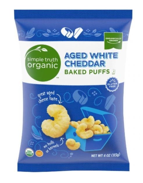 Popcorn, Simple Truth Organic™ Aged White Cheddar Baked Puffs (4 oz Bag)