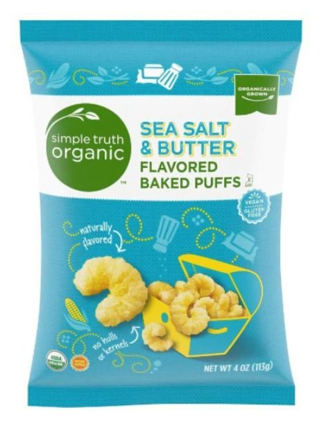 Popcorn, Simple Truth Organic™ Sea Salt & Butter Flavored Baked Puffs (4 oz Bag)