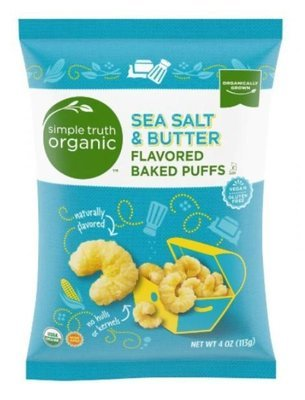 Popcorn, Simple Truth Organic™ Sea Salt & Butter Flavored Baked Puffs (4 oz Bag)