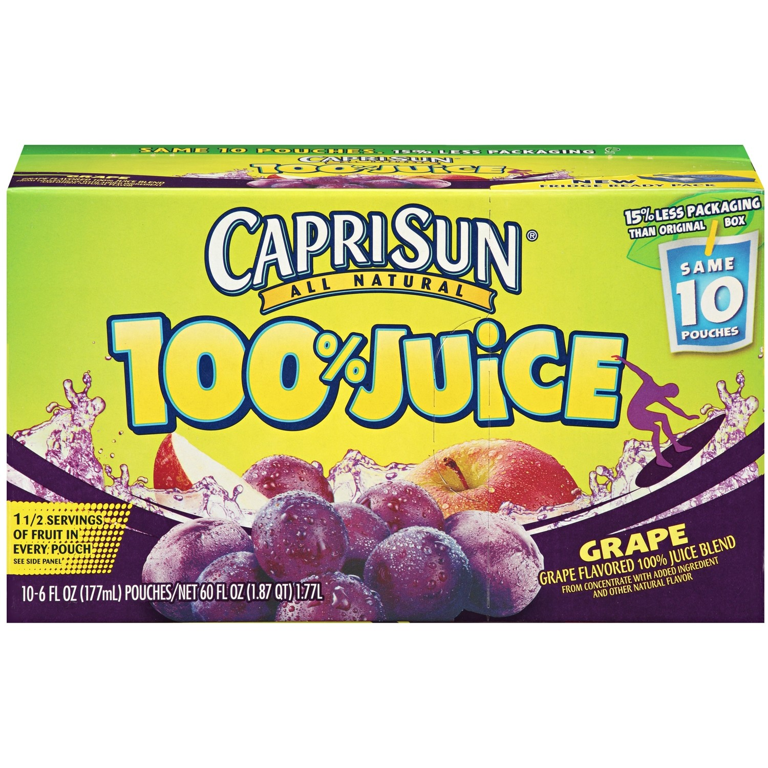 Juice Drink, Capri Sun® 100% Grape Juice, Single 6 oz Packet