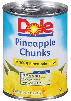 Canned Fruit, Dole® Pineapple Chunks in 100% Juice (20 oz Can)