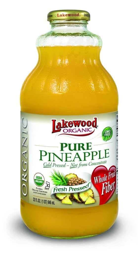 Juice Drink, Lakewood Organic® Organic Pure Pineapple Juice (32 oz Bottle)