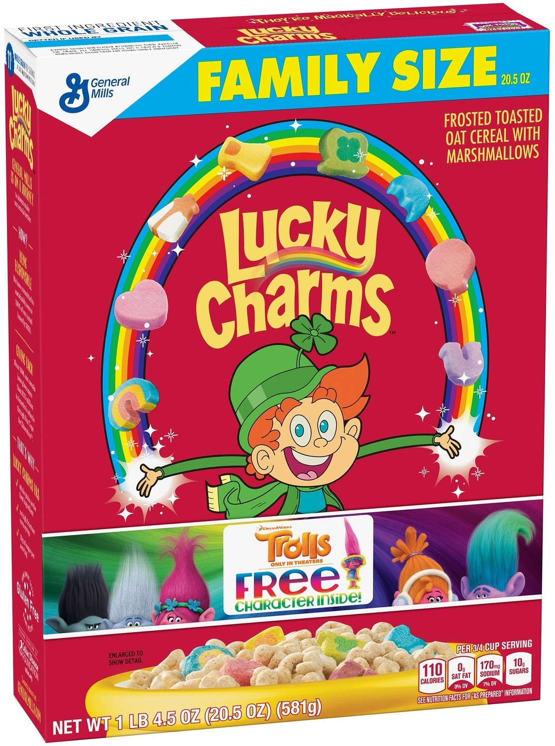 Cereal, General Mills® Lucky Charms® Cereal (Family Size-20.5 oz Box)