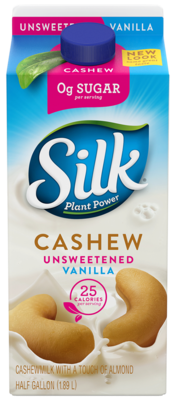 Cashew Milk, Silk® Unsweetened Vanilla Cashew Milk (½ Gallon Carton)