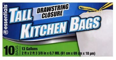 Trash Bags, Essentials®Tall Kitchen Bags with Drawstring Closure (Box of 13)
