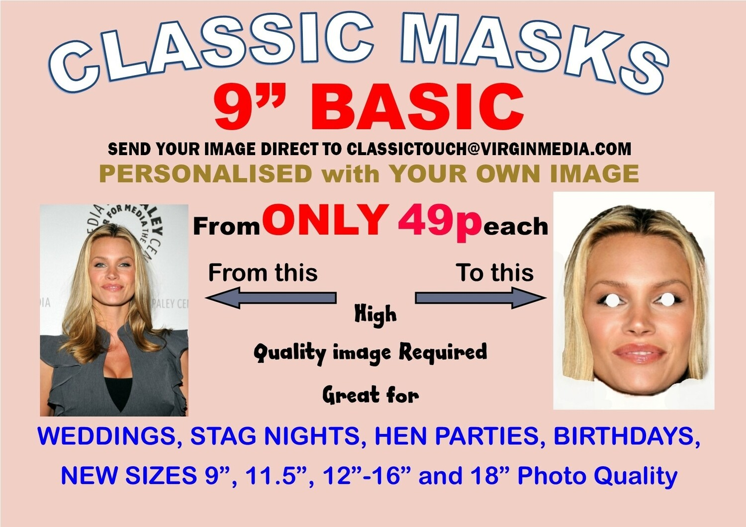 """9"""" Personalised Face Mask KIT 1 to 200 with Face and Eyes Cut Out"""