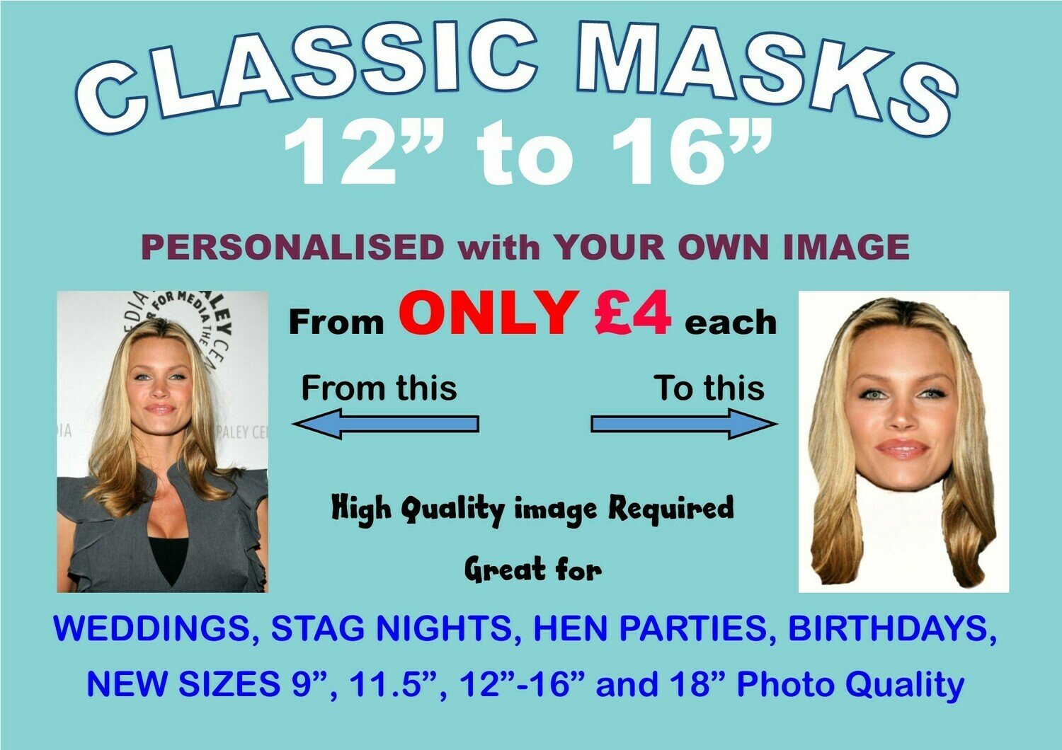 """12"""" to 16"""" Personalised Face Mask KIT 1 to 200 with Face and Eyes Cut Out"""