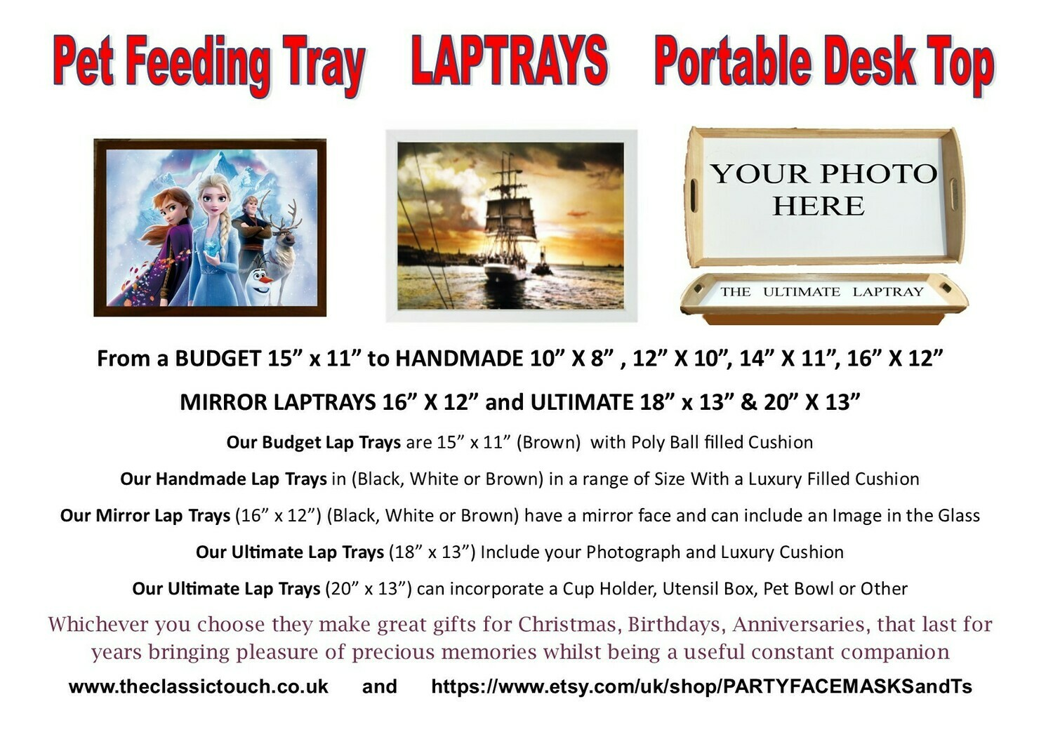 Photo Lap Tray, Pet Feeding Tray, Portable Desk Top, Made to your requirements