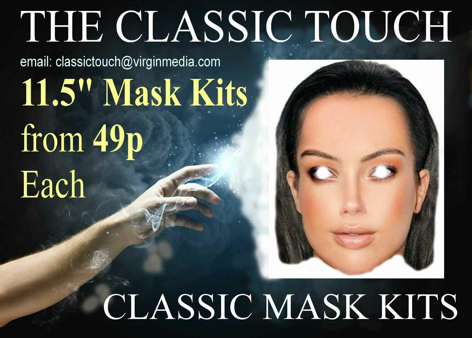 "11.5"" Personalised Face Mask KITS with EYES Cut Out from ONLY 45p each"