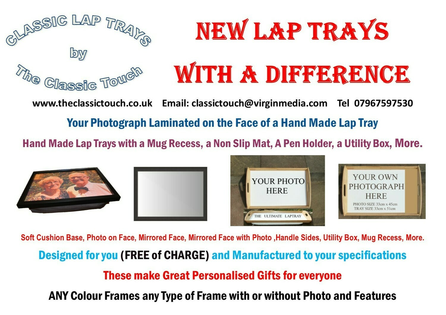 MOTHERS DAY SPECIAL LAP TRAYS with a DIFFERENCE