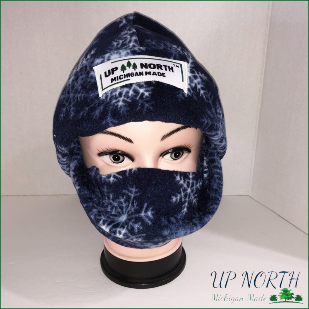 Snowflakes Winter Hat with Face Cover