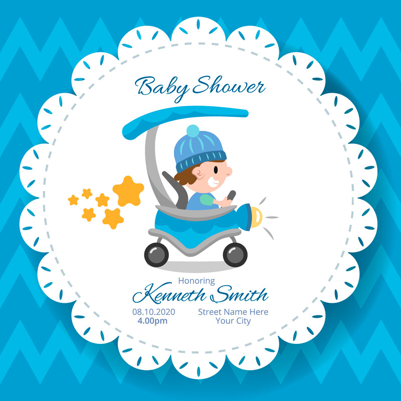 Digital file Baby Shower Blue Carriage