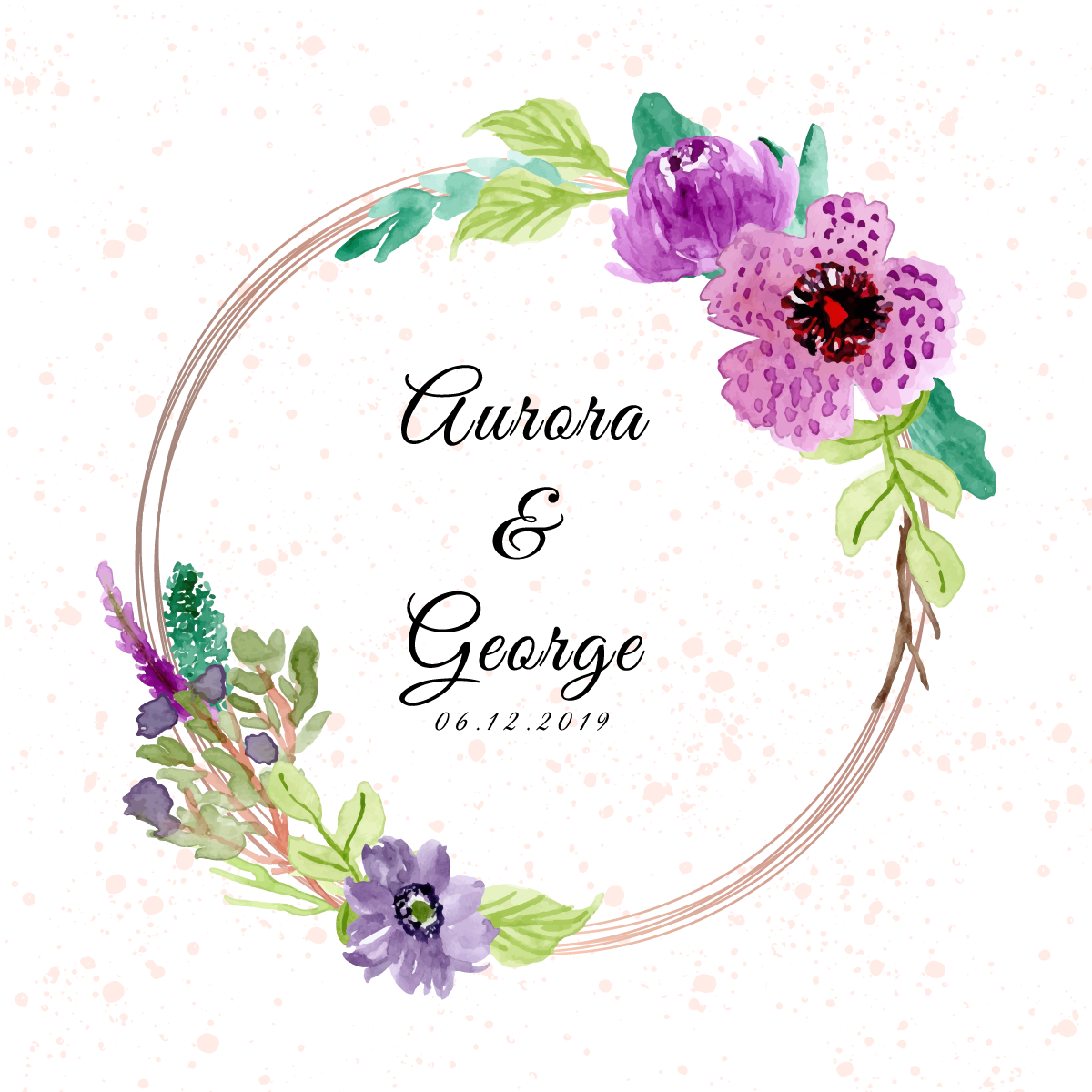 Wedding Badge With Purple Floral Watercolor Frame