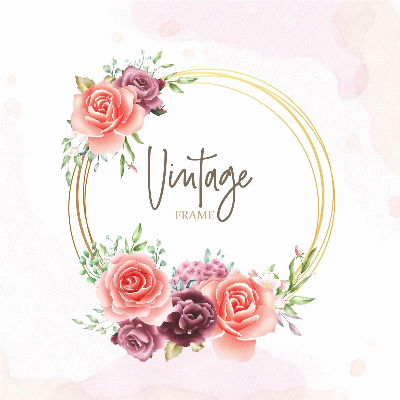 Digital file watercolor floral frame multi purpose