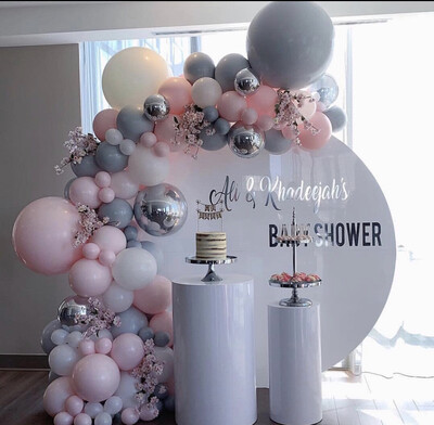 Pastel Baby Pink Gray White Macaron Balloon Garland Arch Wedding Baby Shower Party Backdrop Tape Wall Balloons Decor