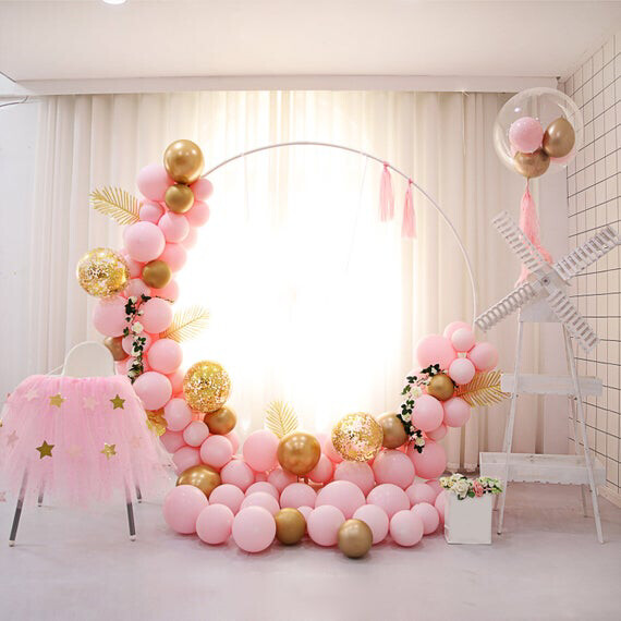 10ft Circle Balloon Garland Hoop Kit Pastel Pink Latex Gold Balloons Leaves Tassel Wedding Backdrop Birthday Anniversary Party Decorations