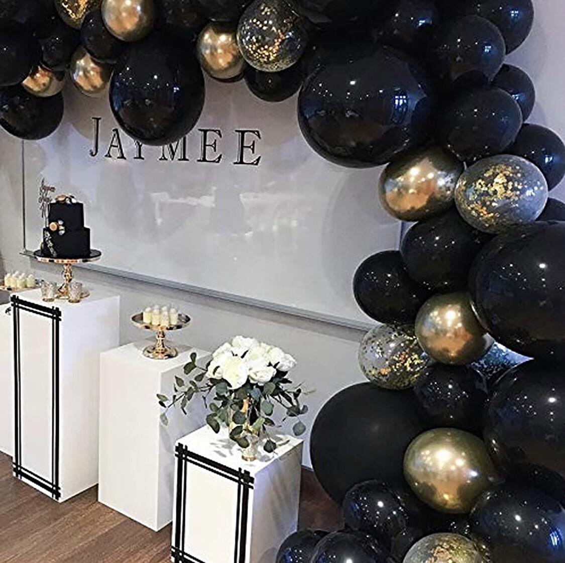82PCS Black&Gold Balloon Garland Arch Kit Balloons for Halloween Birthday Wedding Photo Booth Backdrop Bridal Part suppies