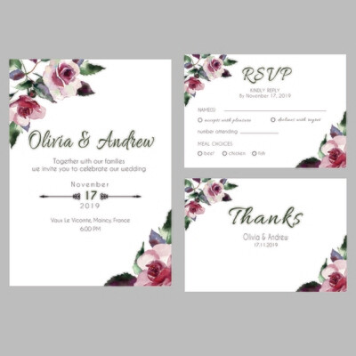 Digital File Floral Wedding Invitation Set