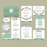 Digital File Green Leaf Wedding Invitation Set