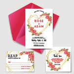 Digital File Wedding Invitation Set With Geometric Love Rose Red