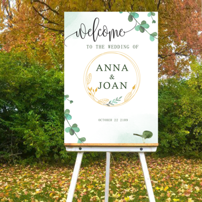 Digital File Green Fresh Style Wedding welcome sign