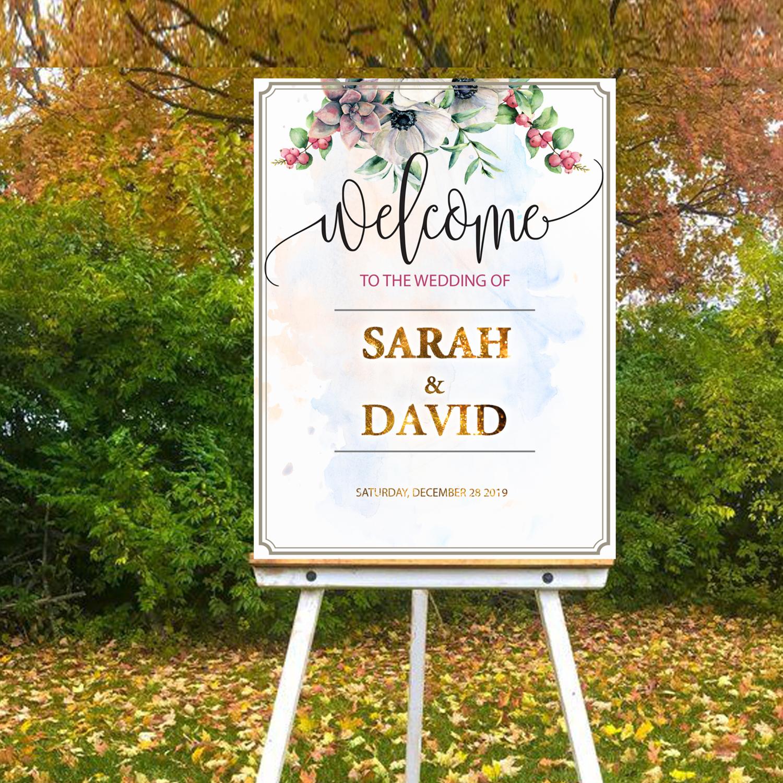 Digital File Royal flower Wedding welcome sign