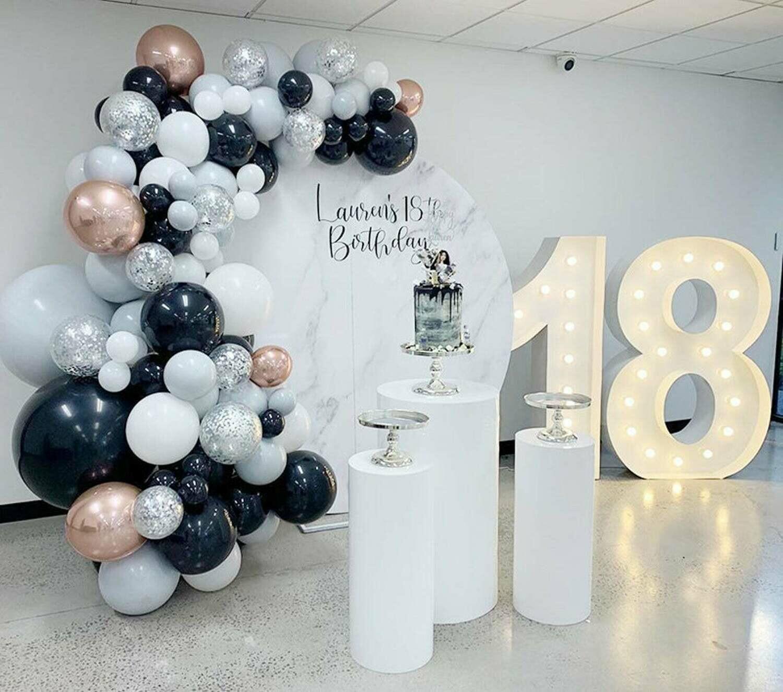 125pcs Black White Grey Balloons Garland Arch Kit 4D Rose Gold Ballon Birthday Wedding Baby Shower Anniversary Party Decorations