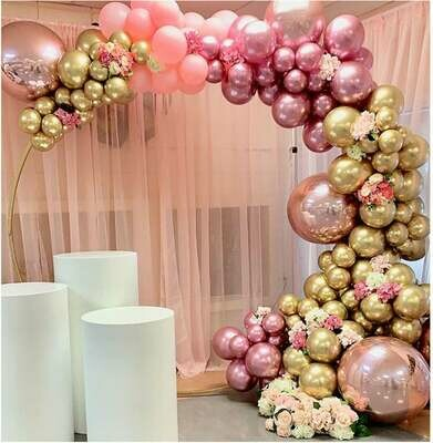 134 pcs Chrome Gold Rose Pastel Baby Pink Balloons Garland Arch Kit 4D Rose Balloon For Birthday Wedding Baby Shower Party Decor